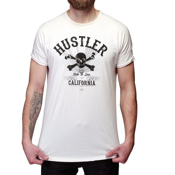 Men's Officially Licensed Hustler HST-580 'Ride To Live' White T-Shirt