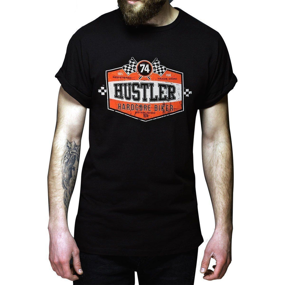 Men's Officially Licensed Hustler HST-590 'Hardcore Biker' Black T-Shirt