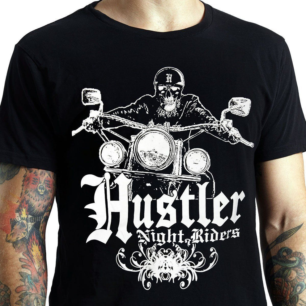 Men's Officially Licensed Hustler HST-610 'Hustler Night Riders' Black T-Shirt
