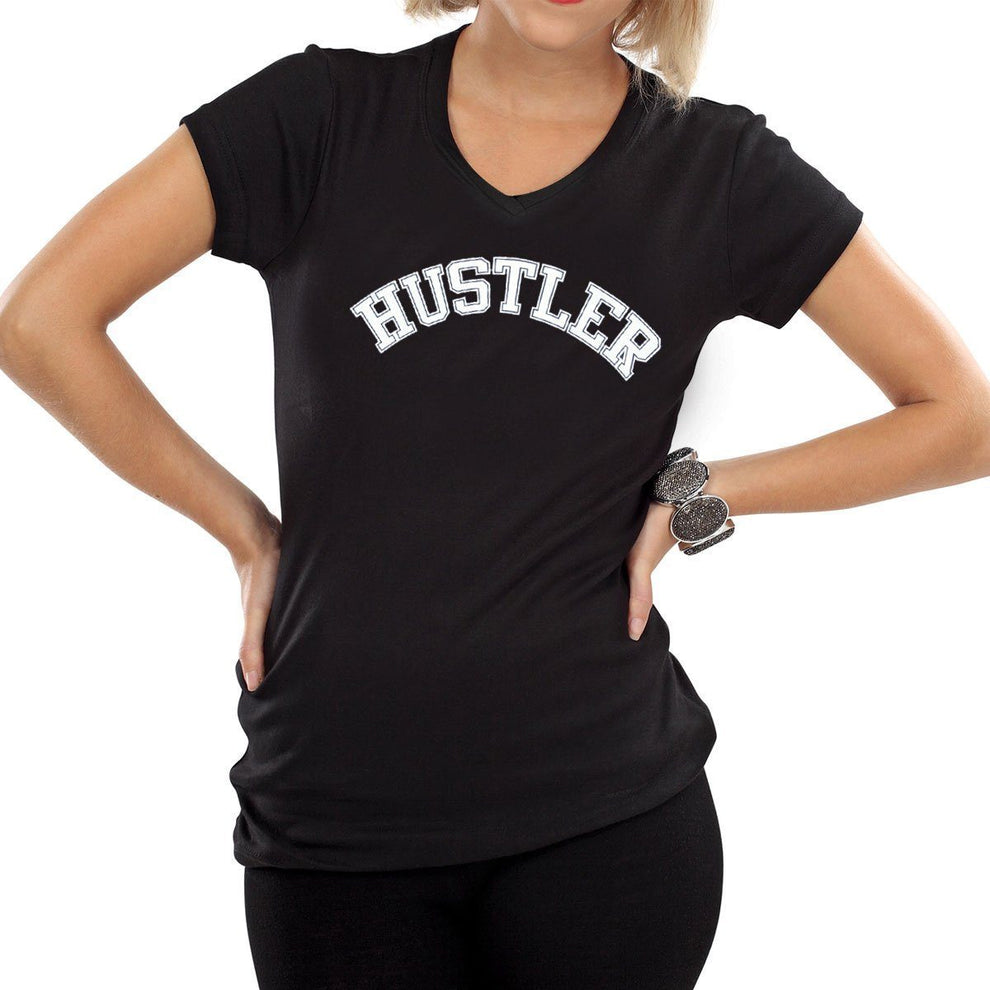 Ladies Officially Licensed HST-700 'Hustler' Black V-Neck Tee