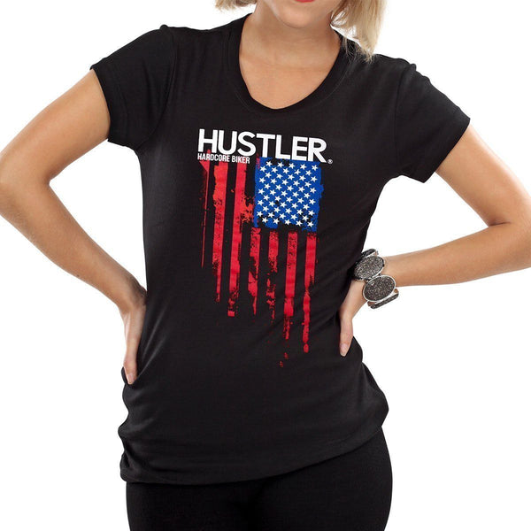 Ladies Officially Licensed Hustler HST-720 'Hardcore Biker Color Flag' Black Tee