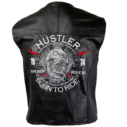 Officially Licensed Hustler Men's 'Born to Ride' Classic Leather Vest with Skull Embroidery