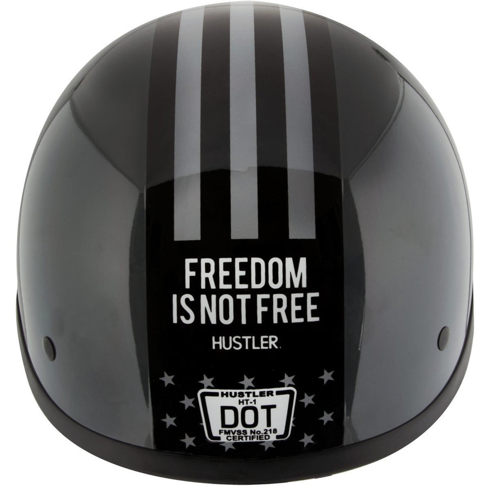 Hustler DOT HT-1  Freedom Is Not Free Glossy Dark Gray Skull Cap Helmet