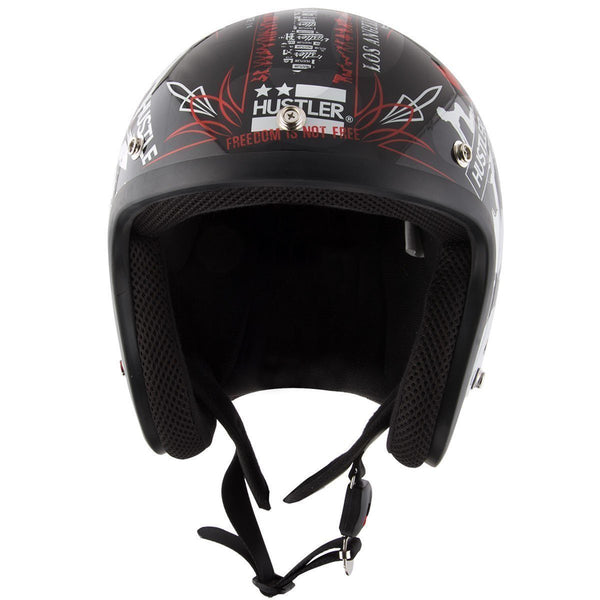Outlaw Helmets HT50 Hustler Glossy Black Open Face - DOT Approved - Open Face Helmet Motorcycle Men & Women - Adult Unisex Skull Cap for Bike, ATV, UTV, Chopper, Cruiser, Skateboard