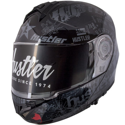 Hustler HT-65 'Hardcore' Gloss Black and Gray Modular Motorcycle Helmet with Drop Down Visor