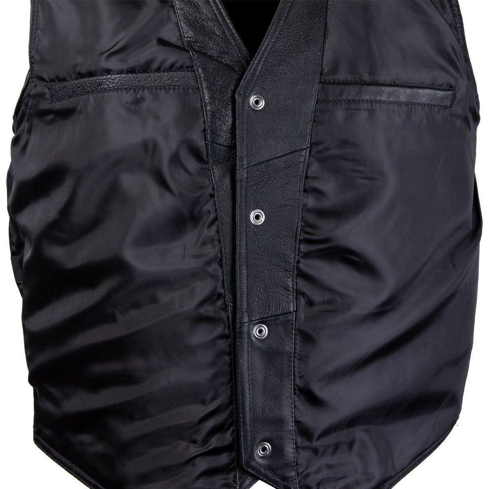 Officially Licensed Hustler HSVT-240 Men's 'Knight Rider' Classic Leather Vest with Skull Embroidery