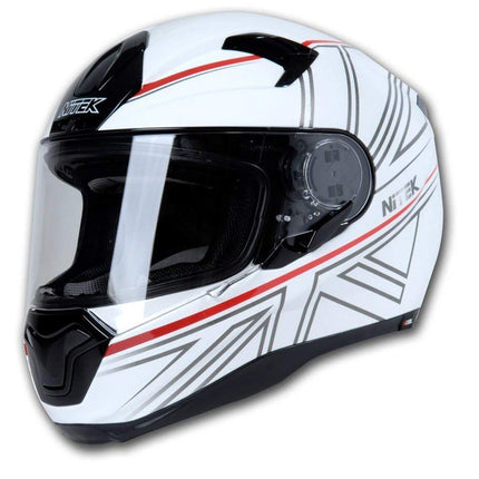 Nitek Interceptor Glossy White Jack Full Face Motorcycle Street Helmet