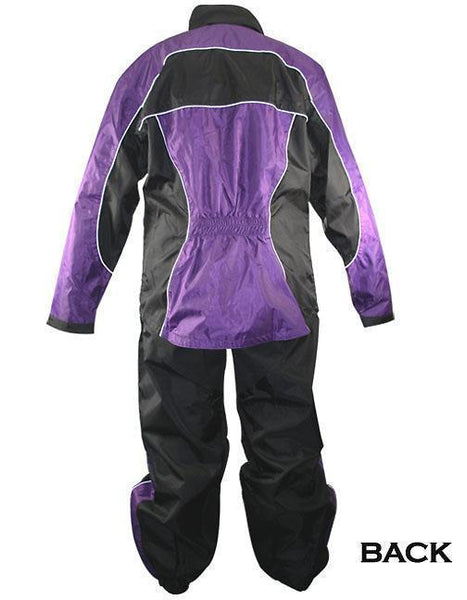 Xelement RN4764 Women's Black and Purple 2-Piece Motorcycle Rain Suit