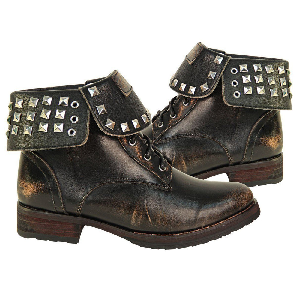 Xelement LU8033 Women's Brown Studded Lace Up Leather Boots