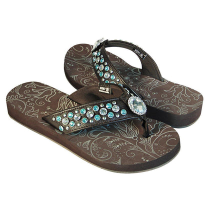 Xelement LU8587 Women's Black Diamond Floral Sandals