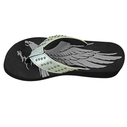 Xelement LU8593 Women's Silver Studded Eagle Sandals