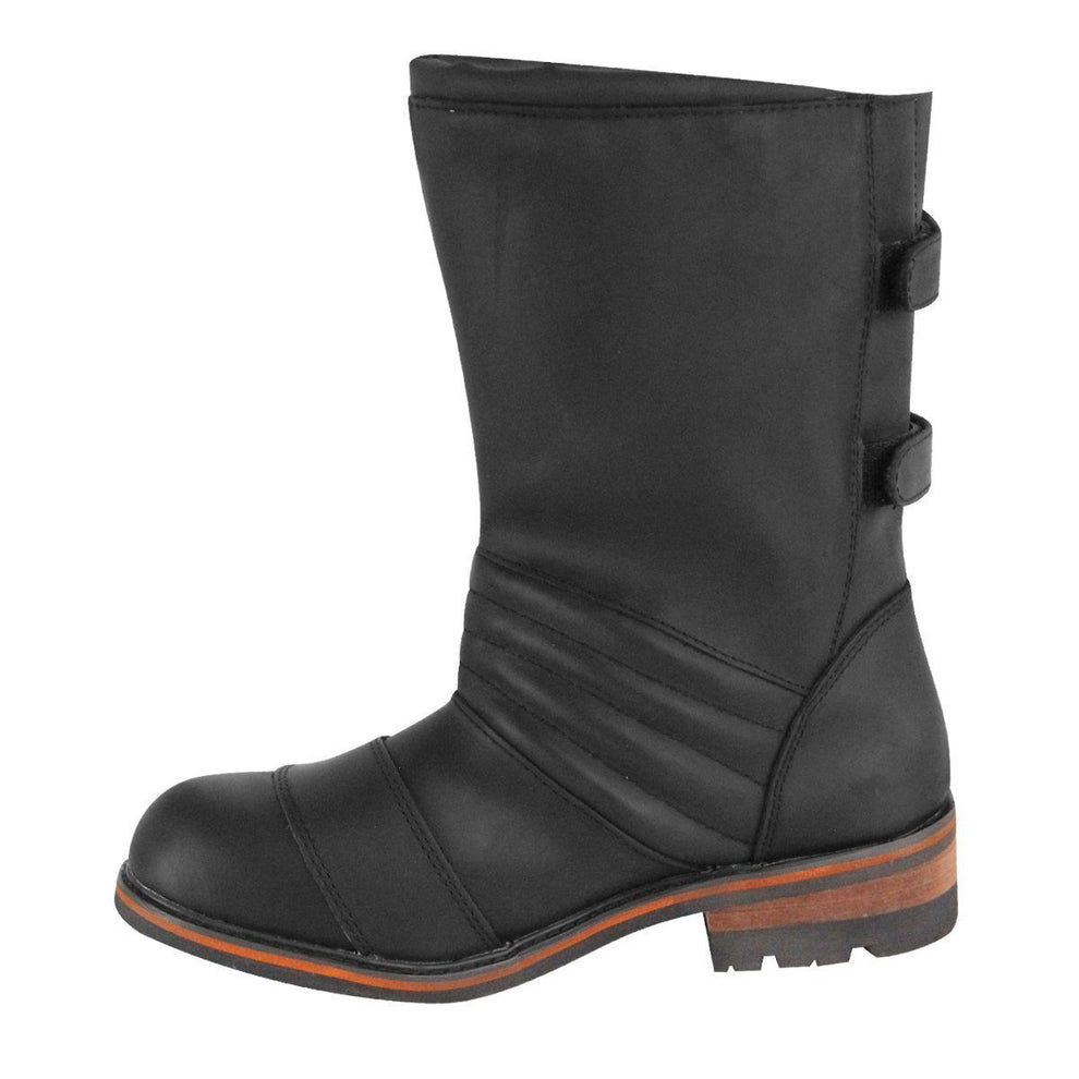 Xelement LU9607 Men's Black Two Buckle Motorcycle Engineer Boots
