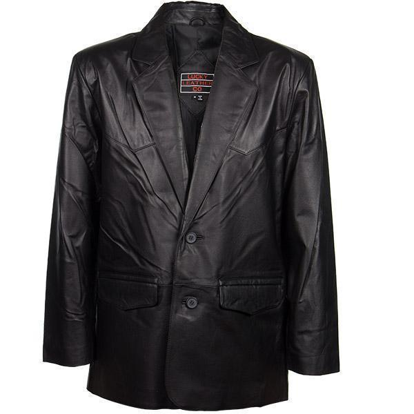 Lucky Leather Men's 2 Button Western Style Black Leather Blazer
