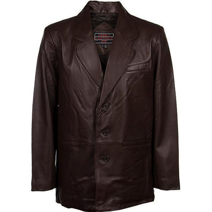 Lucky Leather 218 Men's 3 Button Classic Chocolate Brown Lambskin Leather Blazer