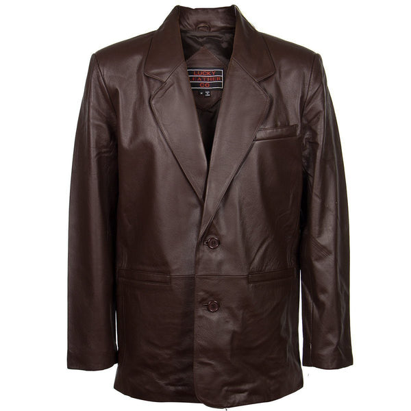 Lucky Leather 118 Men's 2 Button Classic Chocolate Brown Leather Blazer