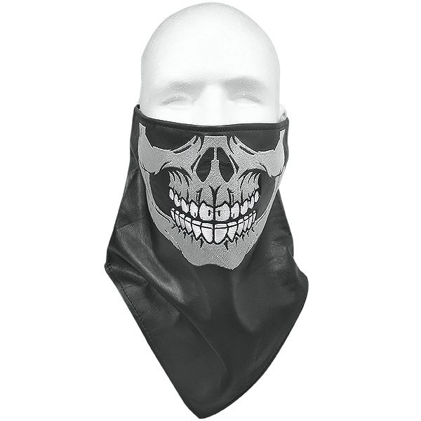 Xelement XF-1388 Motorcycle Leather Bandanna with Evil Skull Embroidery