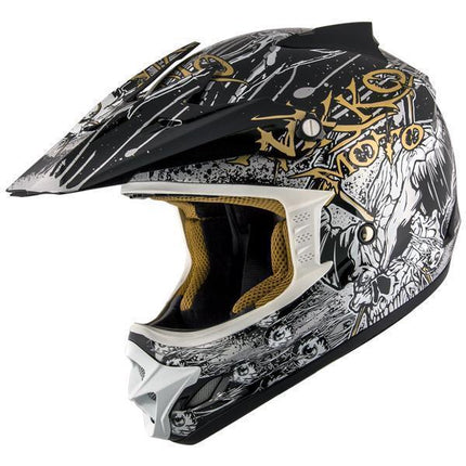 Nikko N719 #1 'Do Or Die' Black and Gold Matte Finish Motocross Helmet