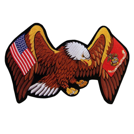 Officially Licensed Marine And United States Flag Eagle 13.5X10 Inch Patch