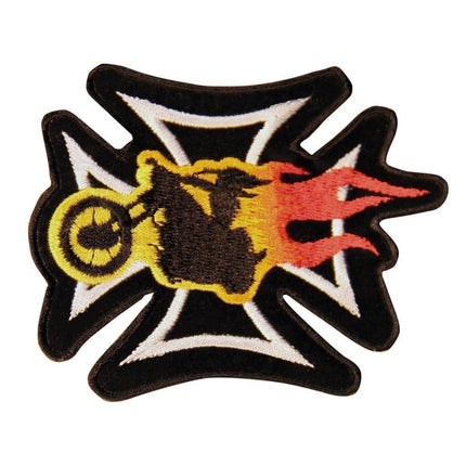 Iron Cross With Biker on Flaming Chopper Biker Patch
