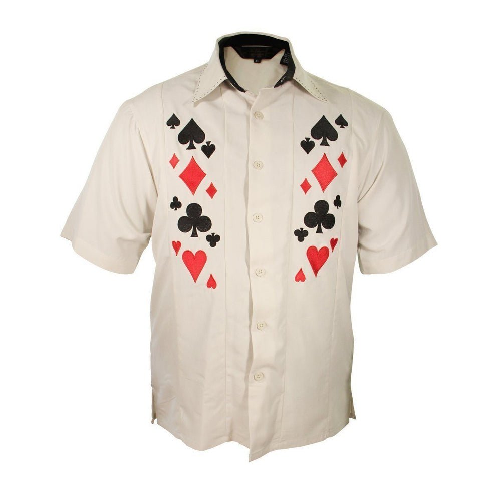 Rockhouse Card Suites Creme White Button up Short Sleeve Shirt