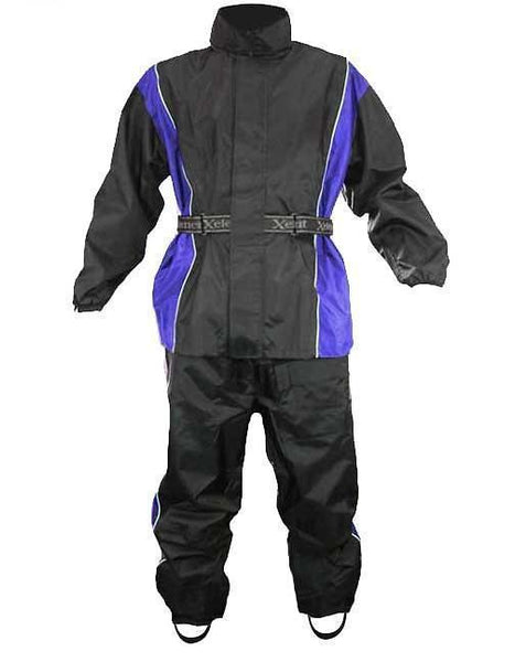 Xelement RN4768 Men's Black and Blue 2-Piece Motorcycle Rain Suit with Boot Strap