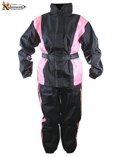 Xelement RN4786 Ladies Black and Pink 2-Piece Motorcycle Rain Suit with Boot Strap