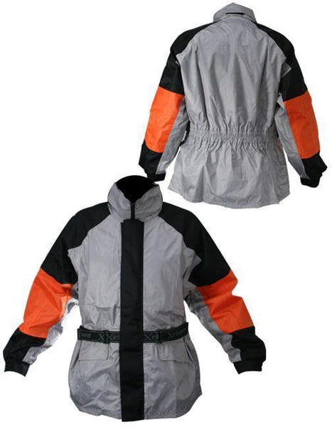 Xelement RN4792 Men's 2-Piece Black/Silver/Orange Motorcycle Rainsuit