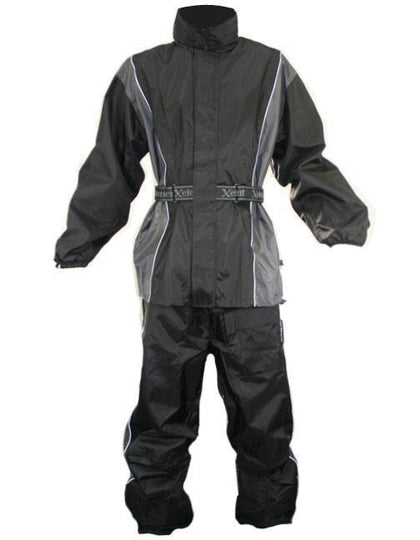 Xelement RN4795 Women's Black/Gray 2-Piece Motorcycle Rainsuit