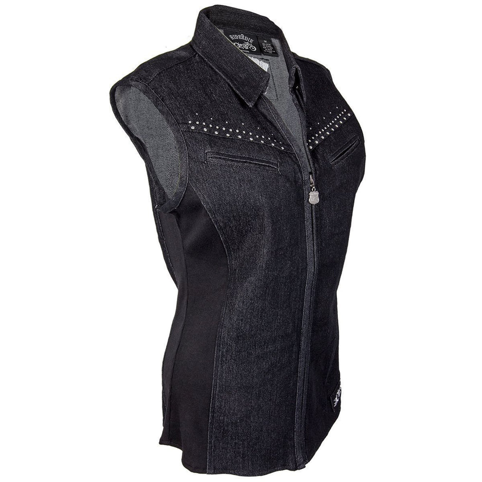 RideRDie Clothing RRD001  'Bad Company' Ladies Denim Tunic Top with Front Zipper Closure