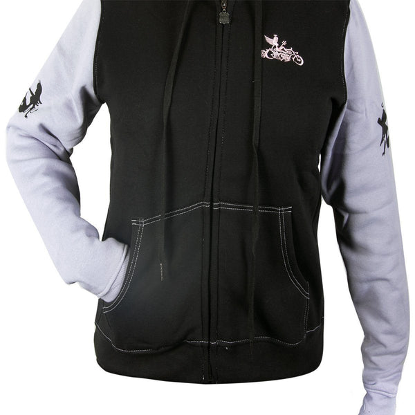 RideRDie Clothing RRLHD002 'Devil or Angel' Ladies Purple and Black Hoodie with Front Zipper Closure