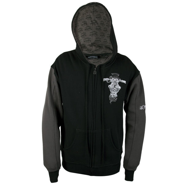 RideRDie Clothing RRMHD003 'Slow Ride ' Dark Gray and Black Hoodie with Front Zipper Closure