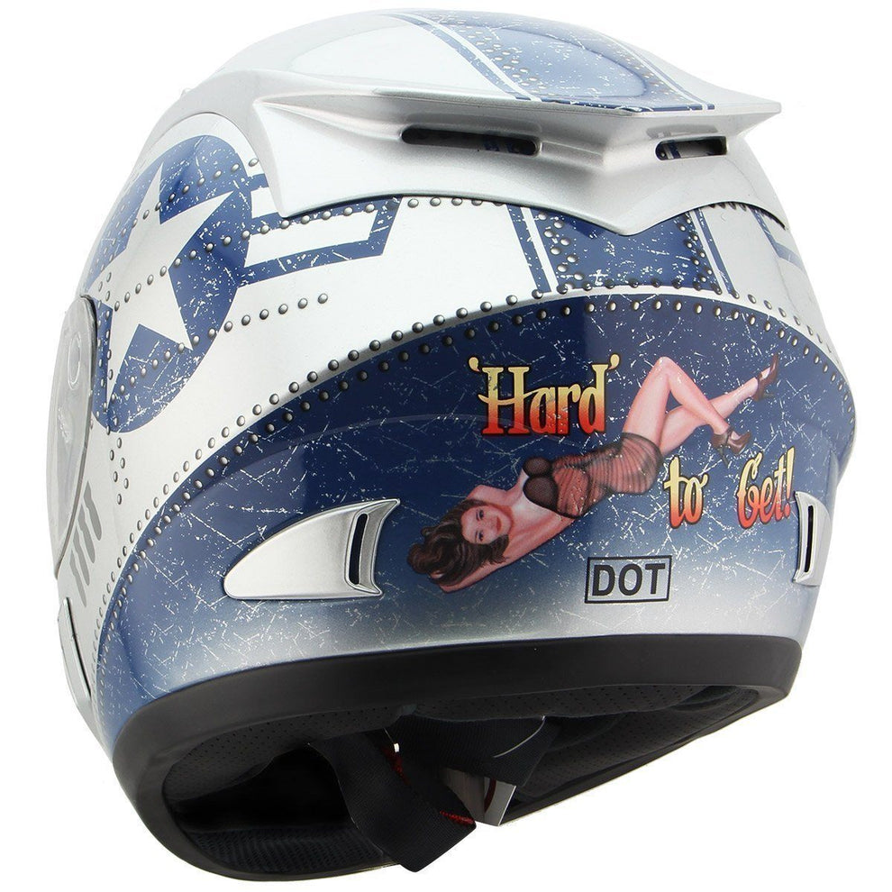 Torc T-10 Silver Fighter Full Face Helmet