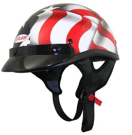 Outlaw T70 DOT 3D American Flag Half Face Helmet with Visor