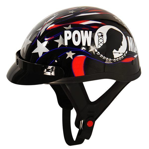 Outlaw T70 DOT POW Half Helmet with Snap On Visor