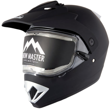 Ultra Light Weight Snow Master TX-45 Flat Black Dual Sport Snowmobile Helmet