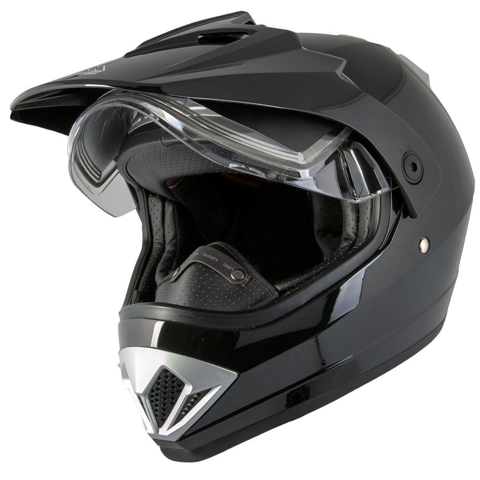 Ultra Light Weight Snow Master TX-45 Gloss Black Dual Sport Snowmobile Helmet