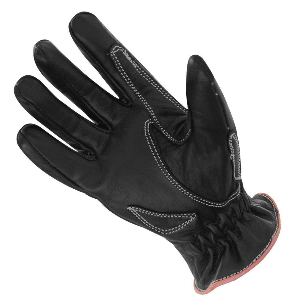Xelement UK826122 'Classic' Women's Black/Pink Zippered Leather Motorcycle Gloves