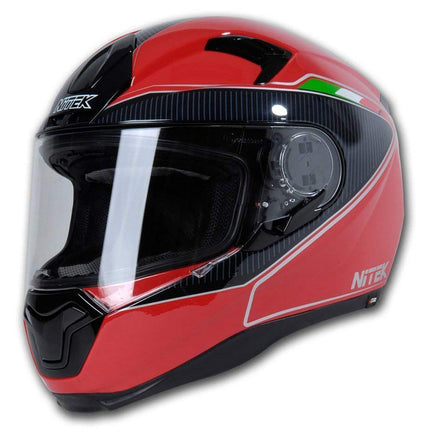 Nitek Interceptor Glossy Red Veloce Face Motorcycle Street Helmet