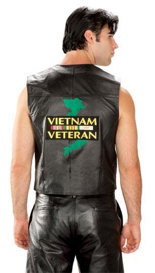 Men's Patriotic Vietnam Leather Vest
