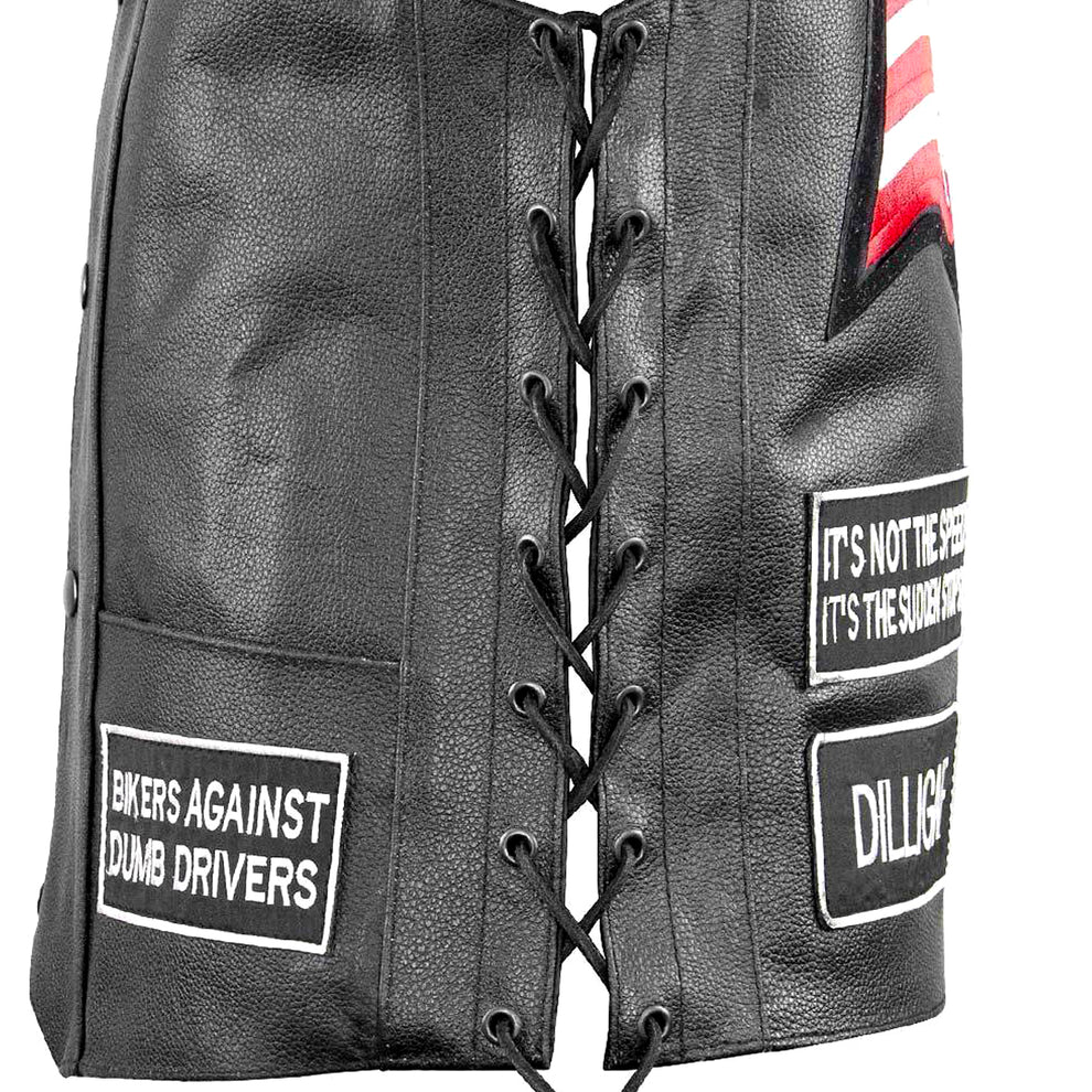 Xelement VP9150 Men's Black Eagle Head and American Flag Leather Vest with Concealed Gun Pocket