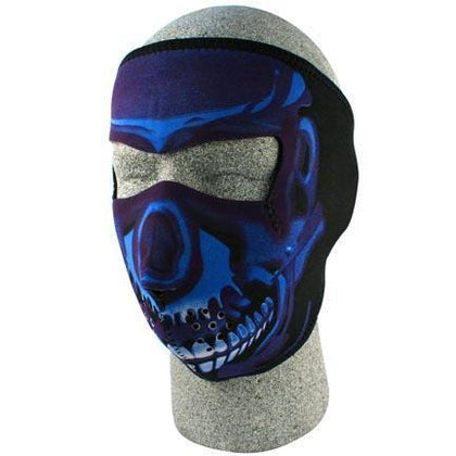 Zan Headgear Neoprene Face Mask, Blue Chrome Skull