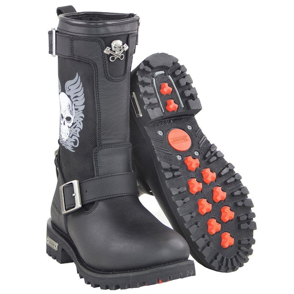 Xelement X29405 Women's Black Tribal Skull Boots with Poron Insoles