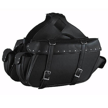 Xelement X-574 Black Zip-Off Chrome Plated Motorcycle Saddlebags