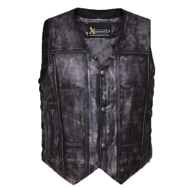 Xelement BXU6717 Urban Armor 'Tribal' Men's Grey Premium Leather Vest