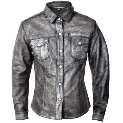 Xelement BXU862055 Urban Armor 'Comfort' Women's Grey Leather Shirt with Gunmetal Snaps