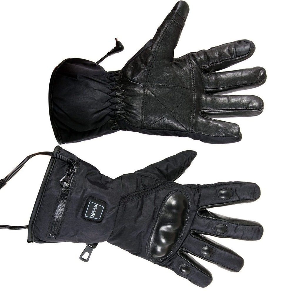 Xelement XS-5001 Men's Gauntlet Heated Leather and Nylon Gloves with Touch Screen Fingers and Knuckle Protection
