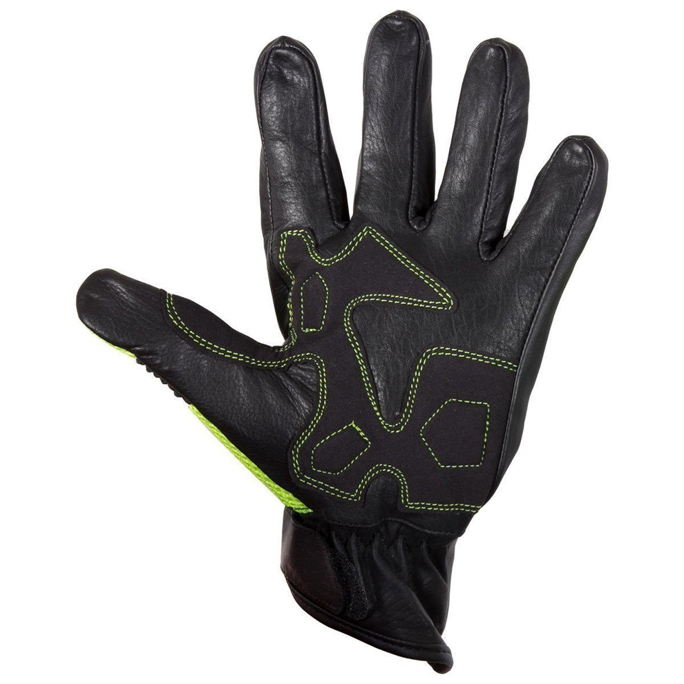 Xelement XG-7799 Men's Black and High Viz  Leather and Textile Racing Gloves