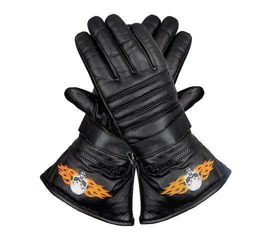 Xelement XG1231 Men's Black Embroidered Flame Skull Lined Leather Motorcycle Gloves
