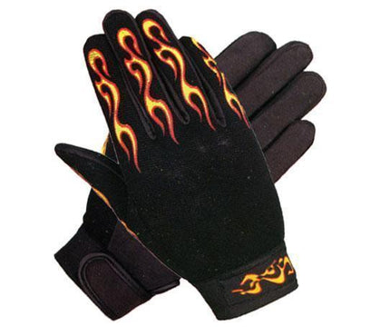 Xelement XG148459 Men's Black Textile Mechanical Fabric Flaming Fingers Gloves