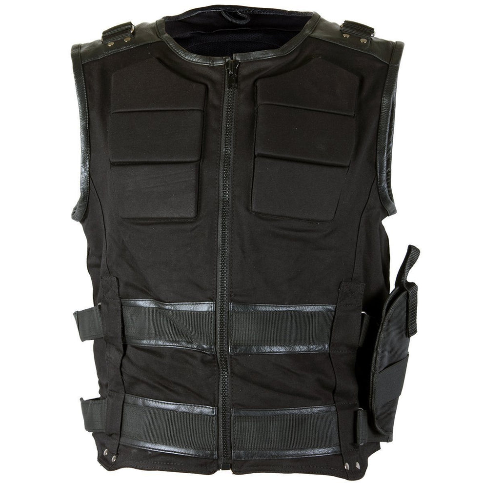 Xelement XS-39088 Men's Black 'Holster' Tactical Street Armored Vest with Gun Holster